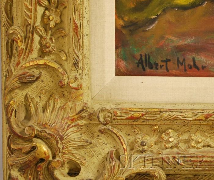 Albert Mohr (German, b. 1918)      Interior Scene: An Artist and Her Model.