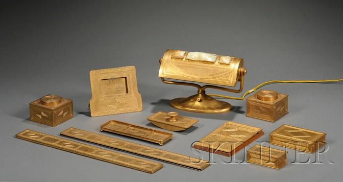 Tiffany Studios Eleven-Piece Desk Set