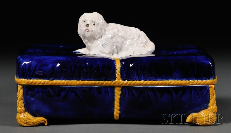 English Cushion-form Majolica Box with Dog Finial