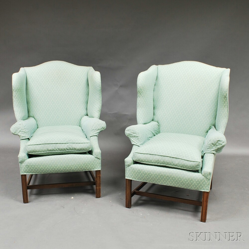 Pair of Chippendale-style Mahogany Wing Chairs