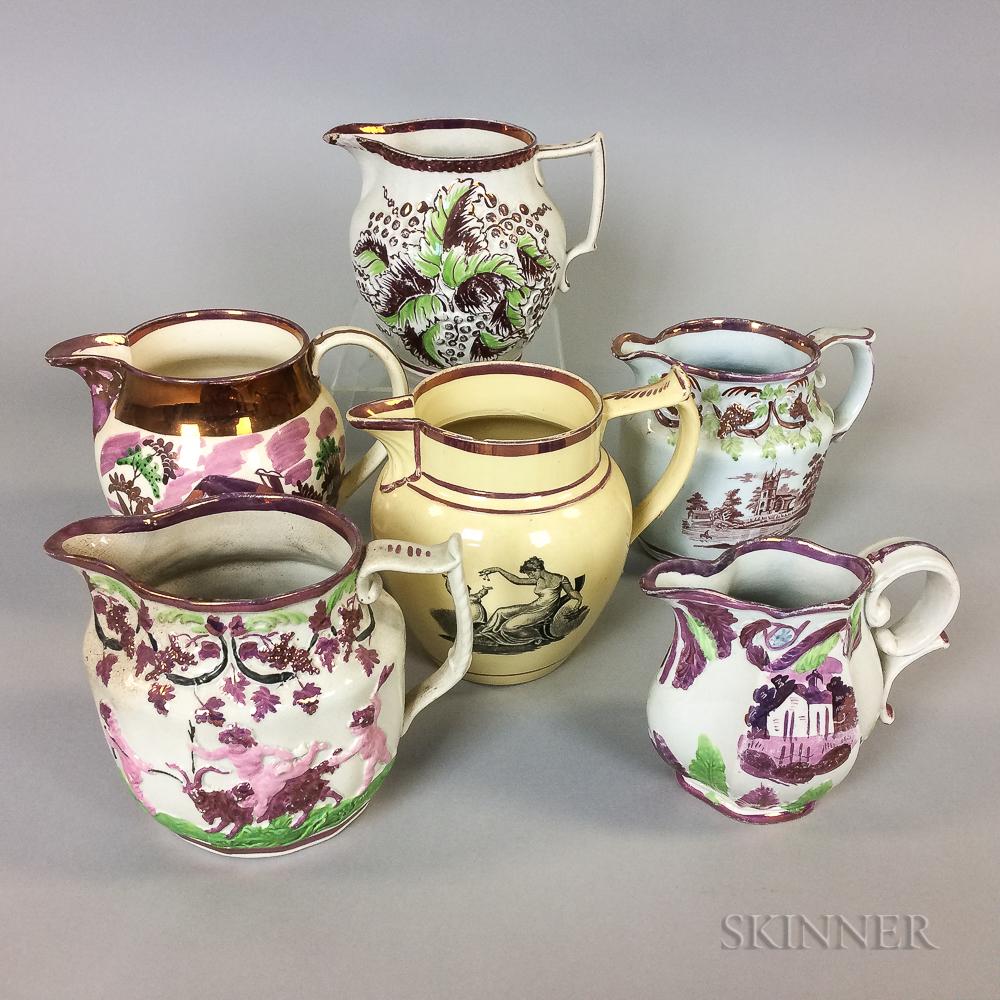 Six Pink Lustre Ceramic Jugs