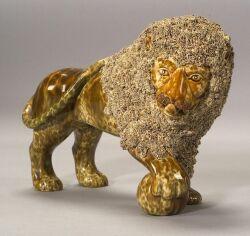 Bennington Flint Enamel Pottery Lion
