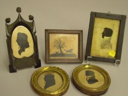 Five Framed Portrait and Scenic Silhouettes.