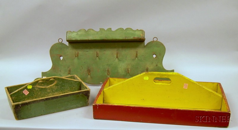 Painted Wooden Cutlery Box with Heart Cut-out Handle, a Painted Wooden Carrier, and a Wrought Iron Hook Mounted...