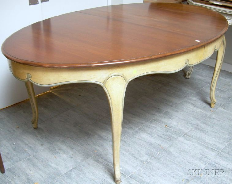 Provincial Louis XV Style Oval Paint-decorated and Carved Walnut Dining Table