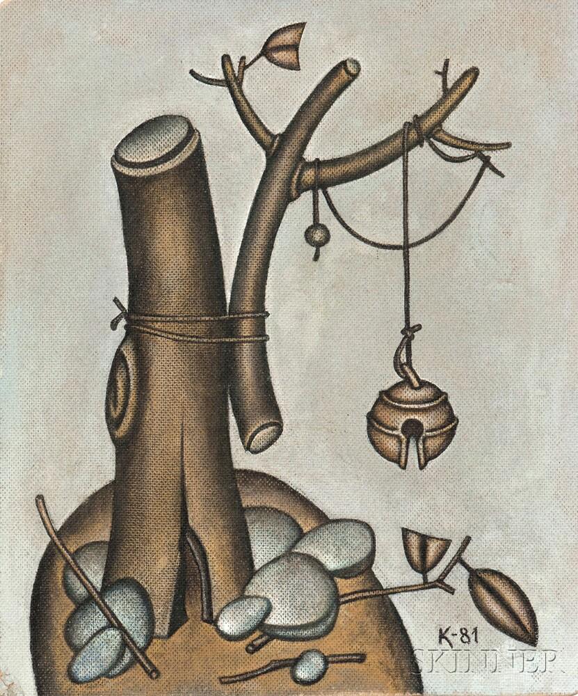 Dmitry Mikhailovich Krasnopevtsev (Russian, 1925-1995)      Metaphysical Still Life with Broken Tree and Hanging Bell
