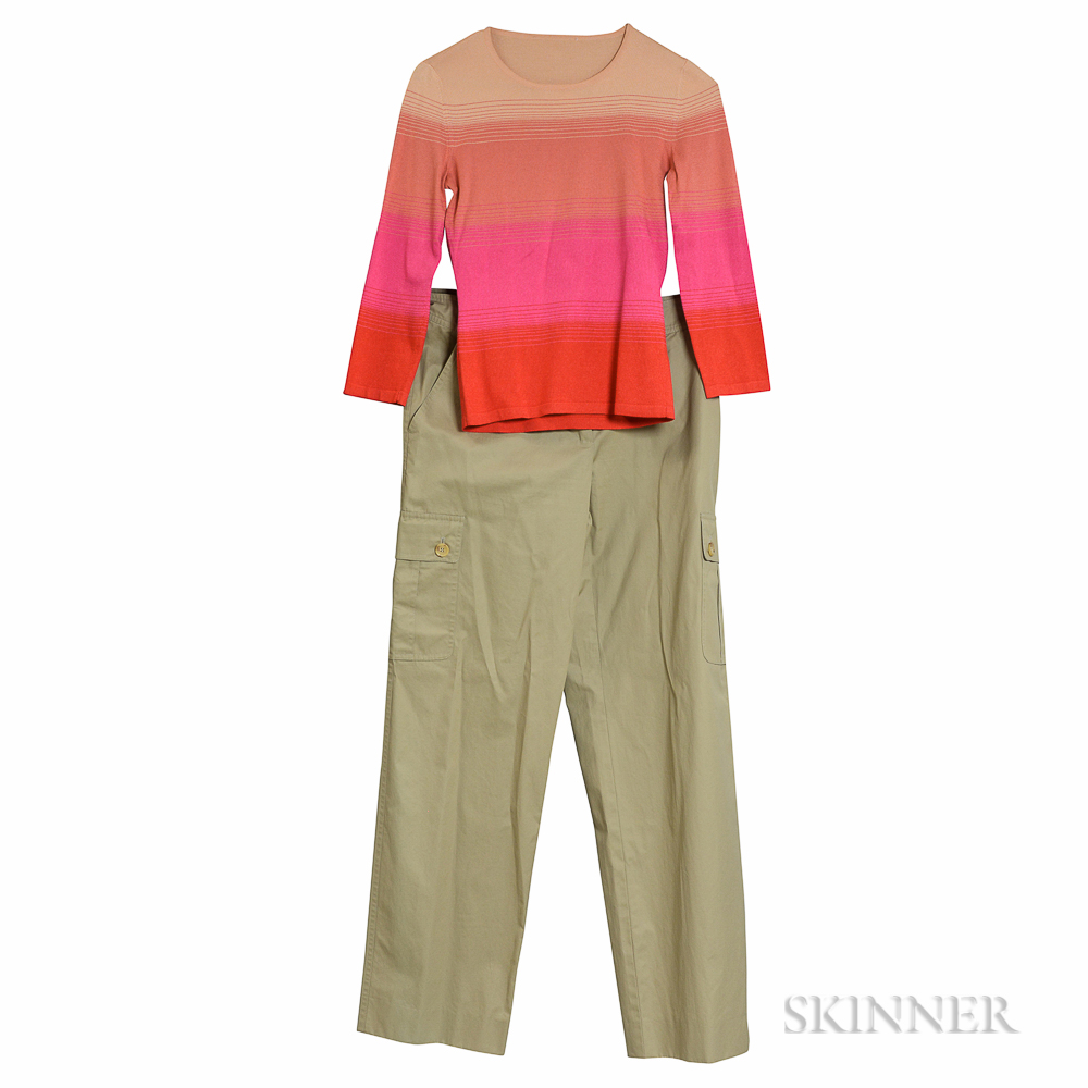 Celine Cargo Pants and Silk Knit Shirt