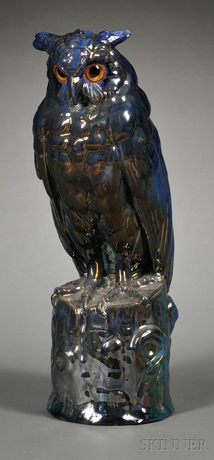 Rambervillers Art Nouveau Luster-glazed Earthenware Figure of an Owl