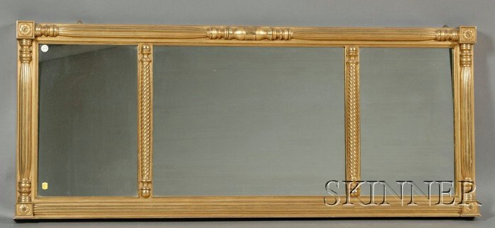 Federal-style Giltwood Three-part Overmantel Mirror