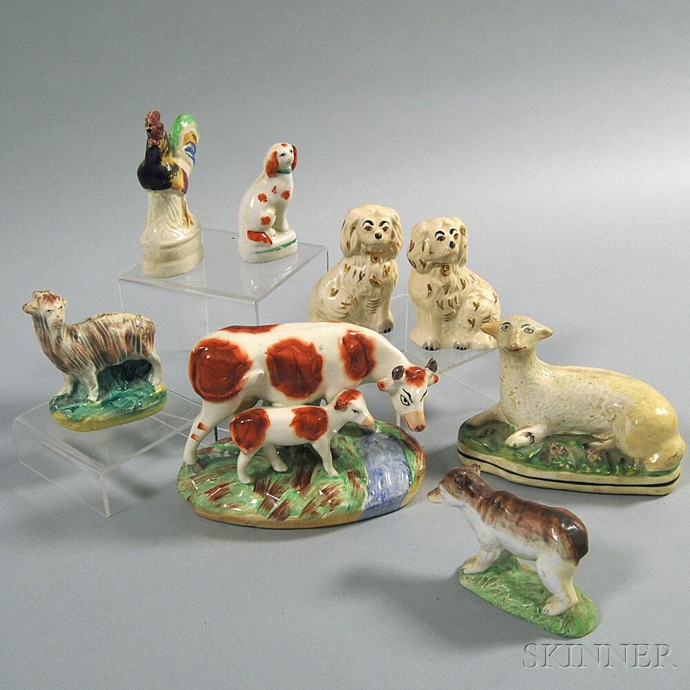 Eight Staffordshire Animal Figures