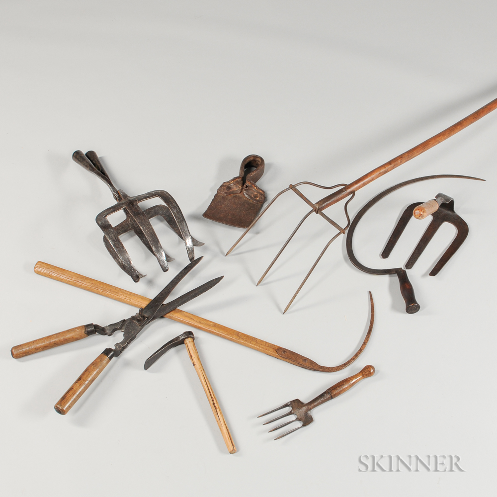 Nine Agricultural or Farming Tools