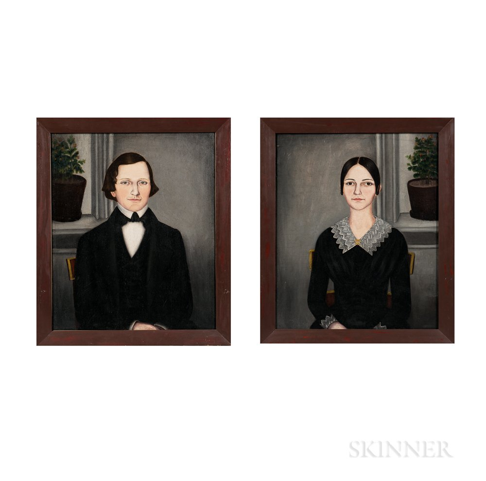 Susan C. Waters (American, 1823-1900)      Pair of Portraits of a Young Man and a Young Woman
