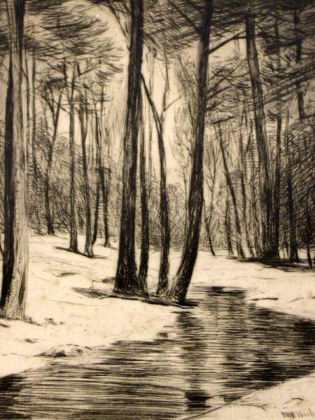 William Harry (Henry) Warren Bicknell (American, 1860-1947)  Winter Stream