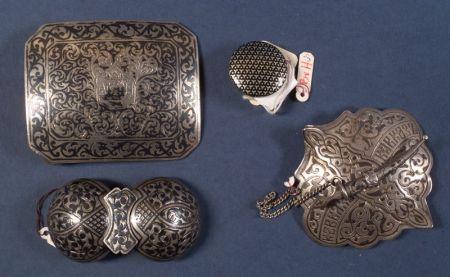 Three Russian Silver Niello Articles