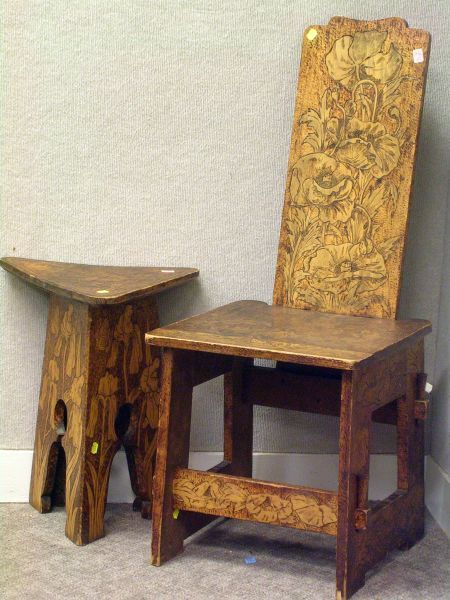 Art Nouveau Pyrographic Floral Decorated Side Chair and Tabouret.