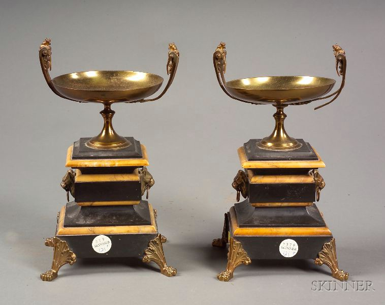 Pair of Renaissance Revival Bronze and Marble Mantel Urns