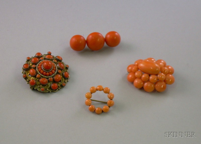 Four Coral Brooches/Pins
