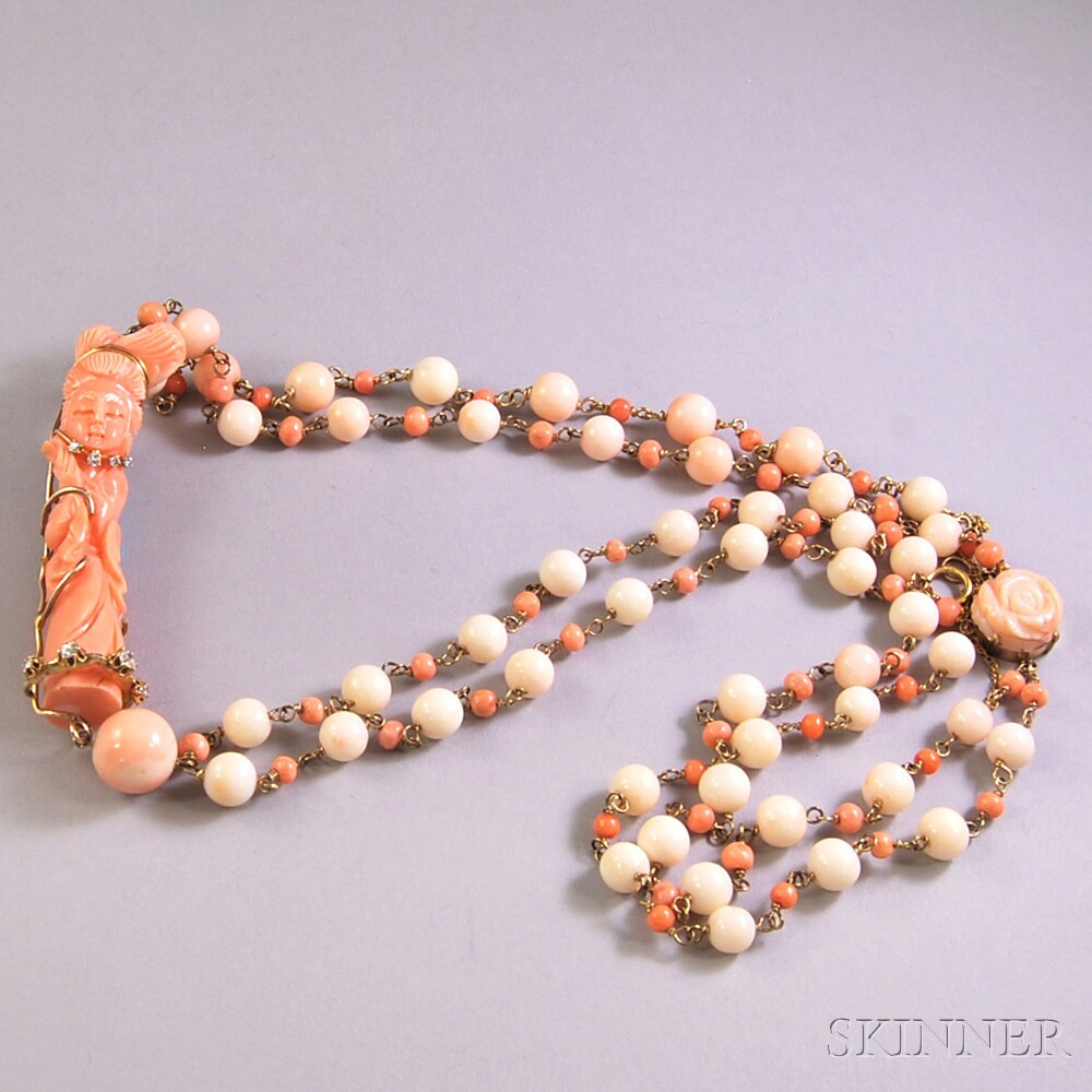 Asian Coral Bead Double-strand Necklace