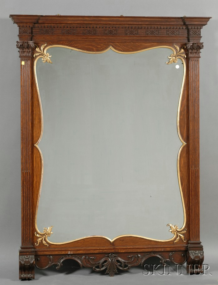 Large Chippendale Style Oak and Parcel Gilt Mirror