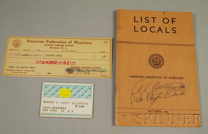 Duke Ellington's 1964 New York Musician Union Card and 1953 American Federation of   Musicians Local Book