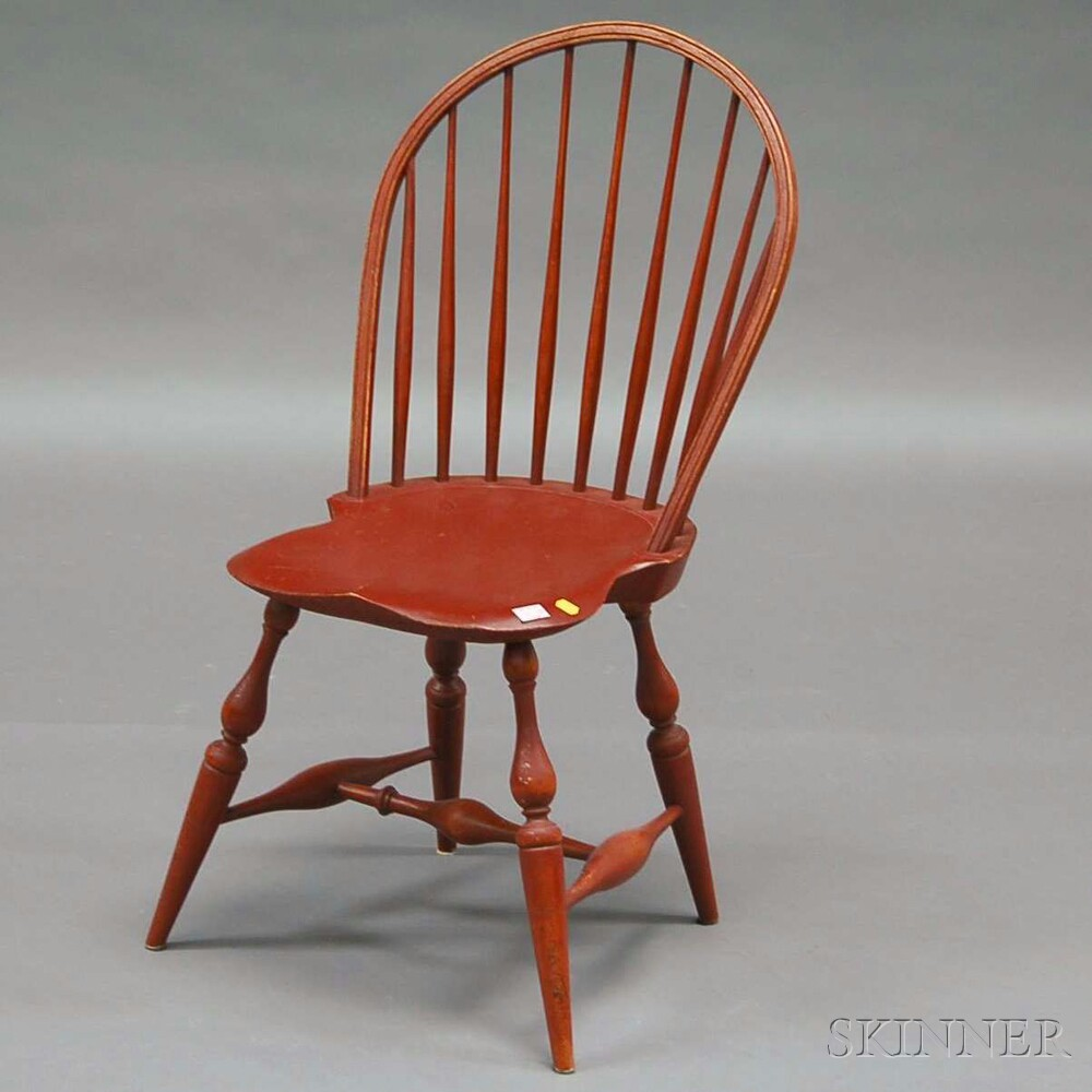 Set of Three Warren Chair Works Red-painted Windsor Bow-back Side Chairs