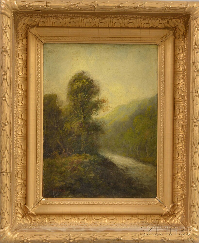 American School, 19th/20th Century    Foggy Landscape with Green Hills and River