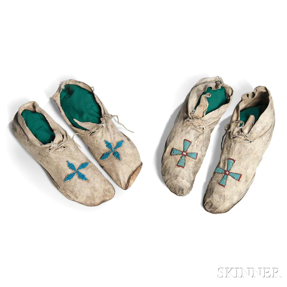 Two Pairs of Arapaho Moccasins