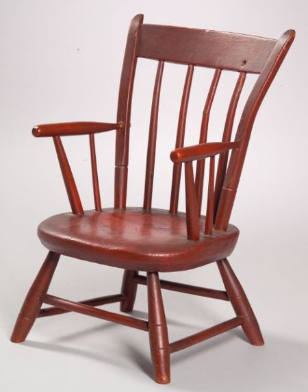 Red Painted Childs Windsor Thumb-back Armchair.