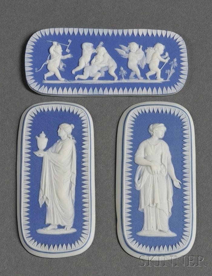 Three Wedgwood Dark Blue Jasper Dip Medallions