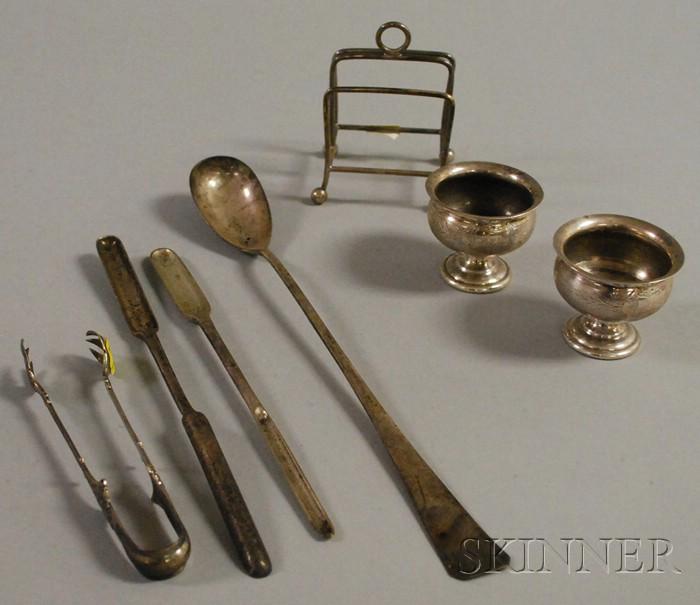 Seven Small Silver Tableware Items