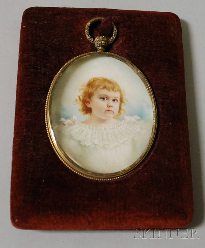 Portrait Miniature of a Child Wearing a White Dress