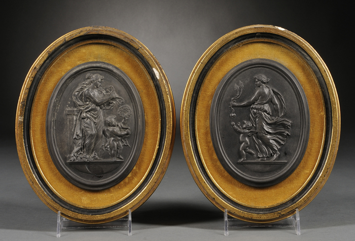Pair of Wedgwood Black Basalt Self-framed Oval Plaques