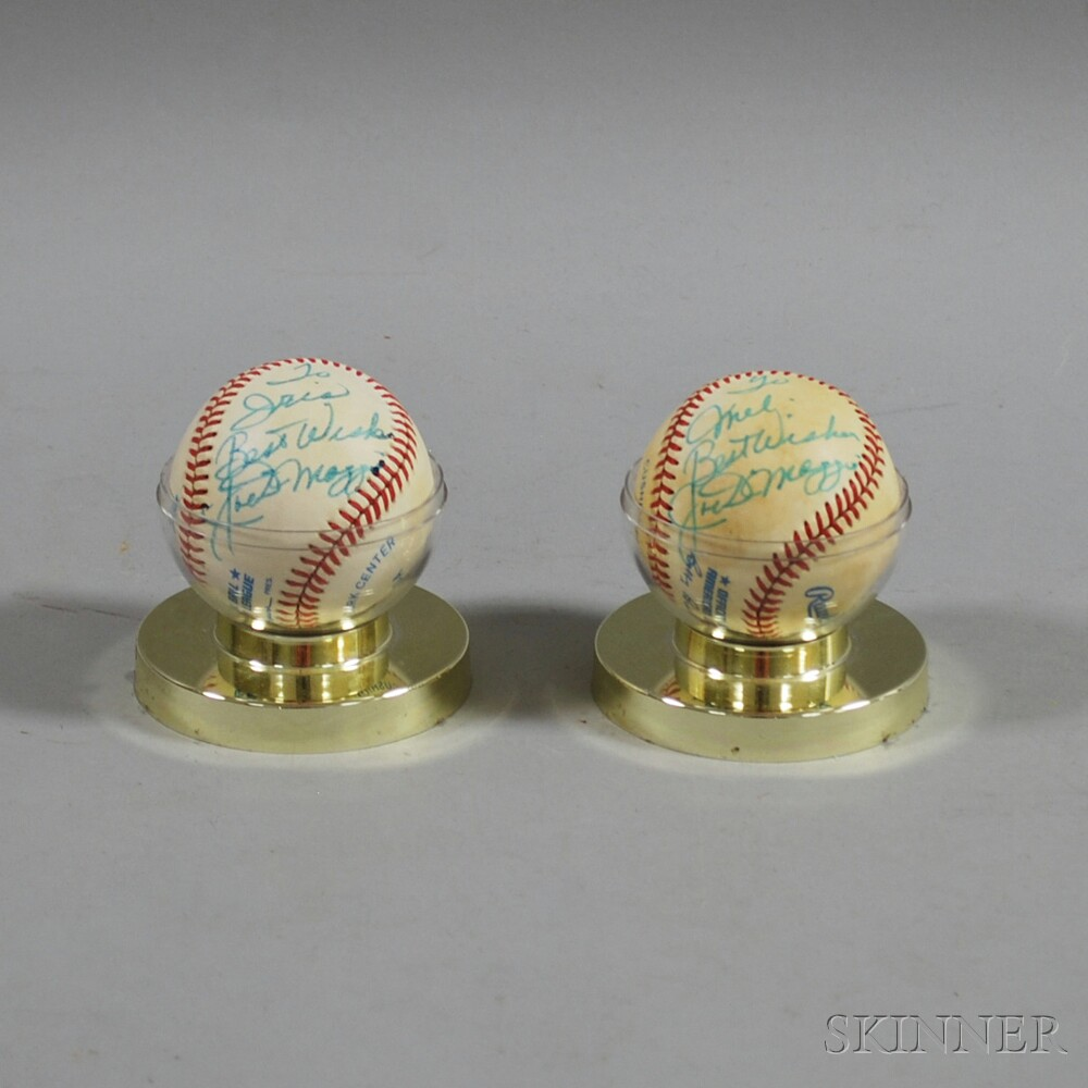 Two Joe DiMaggio Signed Baseballs