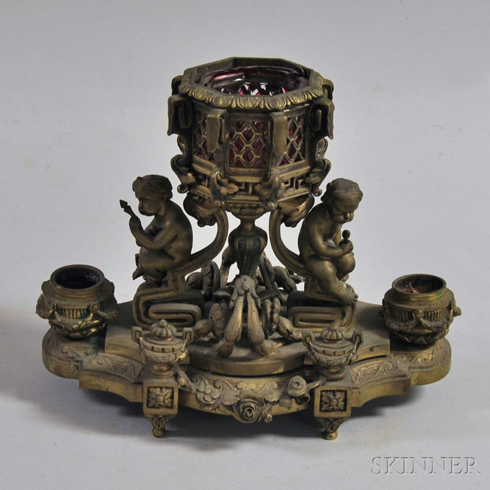 Figural Bronze Decorative Candleholder
