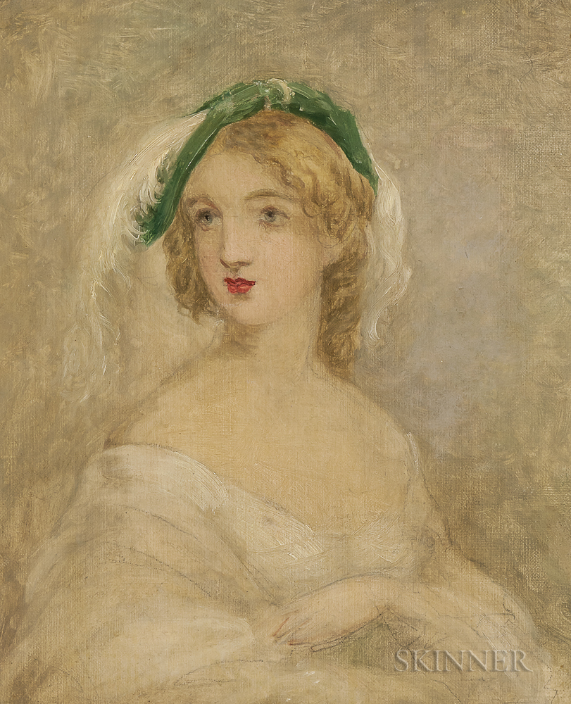 School of John B. Neagle (American, 1796-1895)    Sketch for a Portrait of a Young Woman in a Plumed Hat