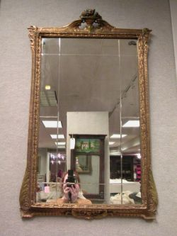 Neoclassical-style Gilt Gesso and Cut Glass Mirror.