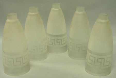 Set of Five Colorless Etched and Frosted Greek Key Pattern Glass Candle Shades.