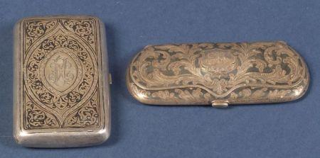 Two Silver Niello Boxes