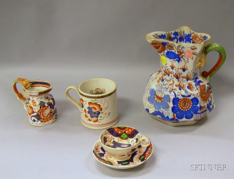 Gaudy Dutch Mug, Cup and Saucer, Creamer, and Jug.