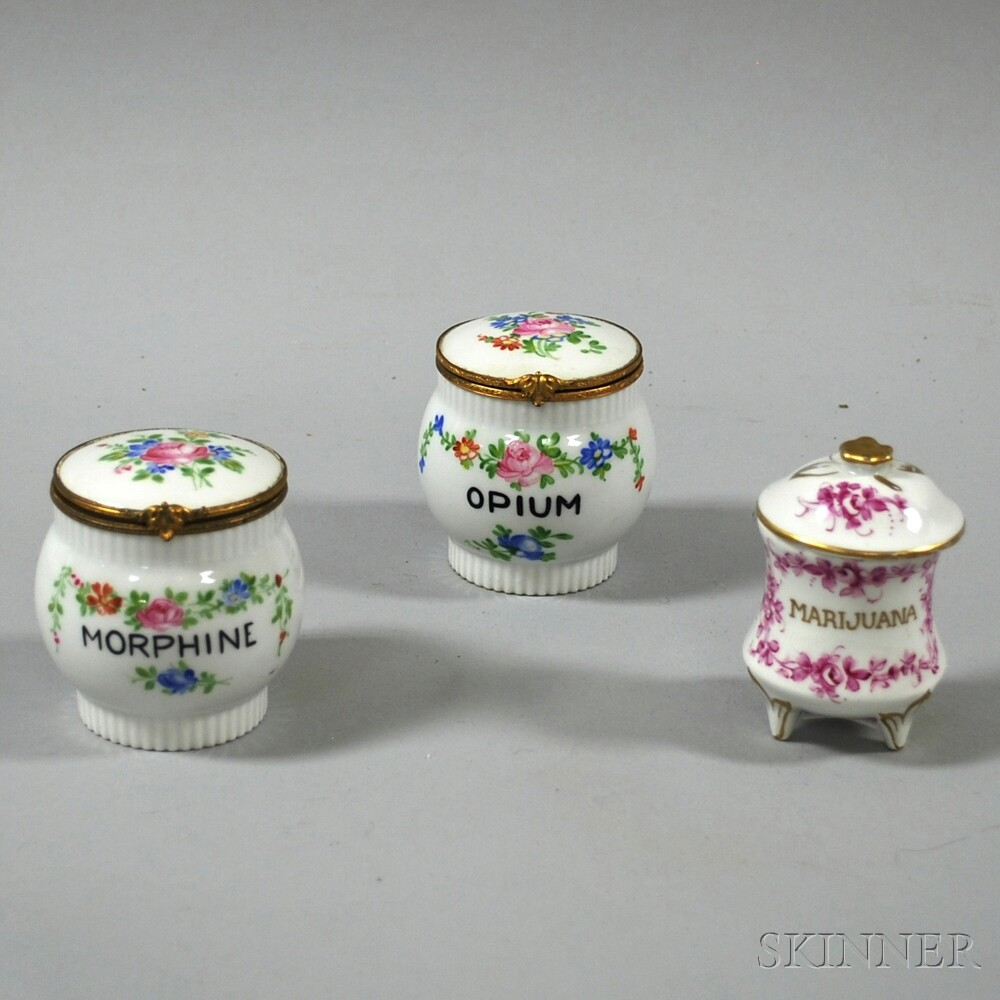 Three Continental Porcelain Apothecary Jars