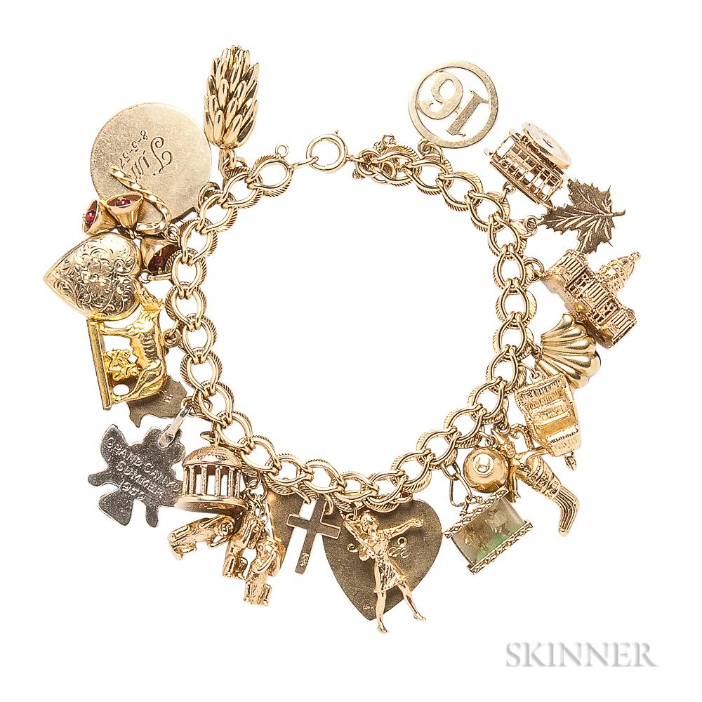 Gold Travel Charm Bracelet