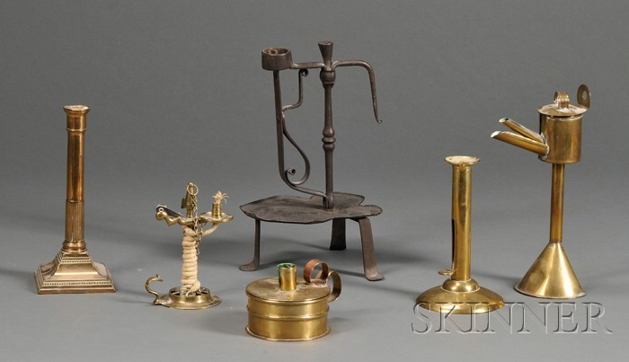 Six Brass and Iron Early Lighting Items