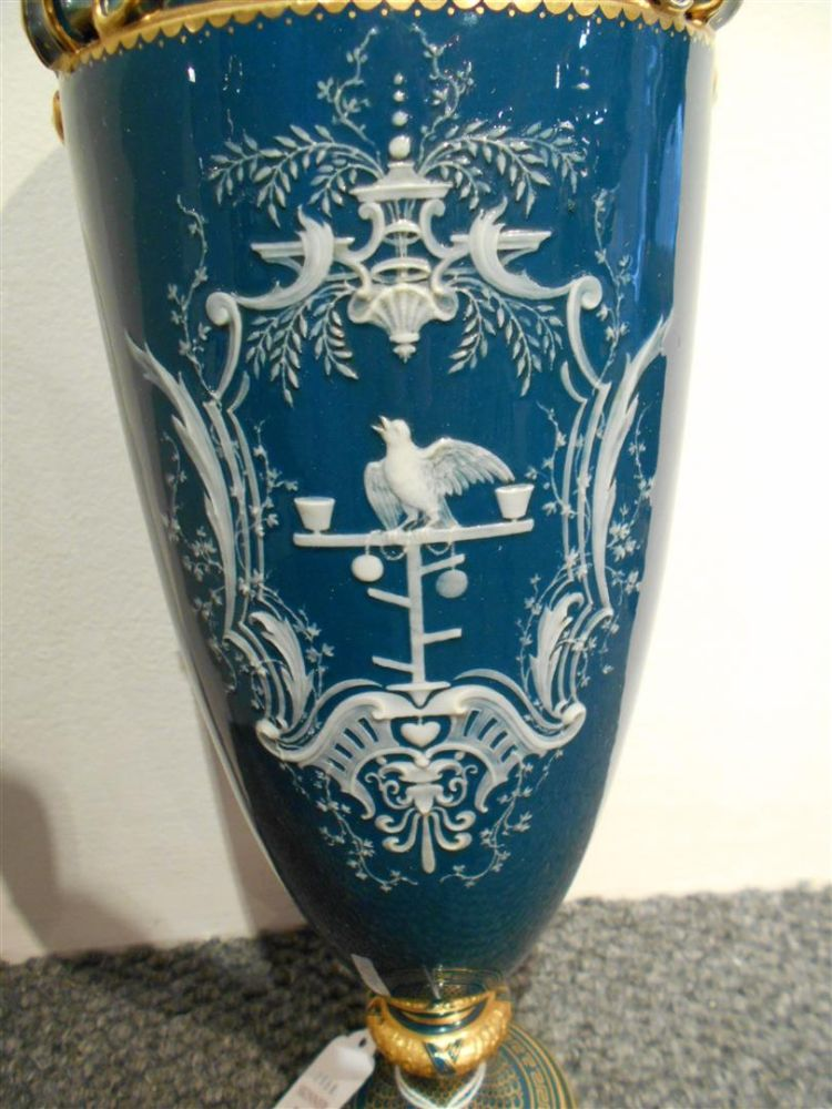 Pair of Mintons Louis Solon Decorated Pate-sur-Pate Vases and Covers