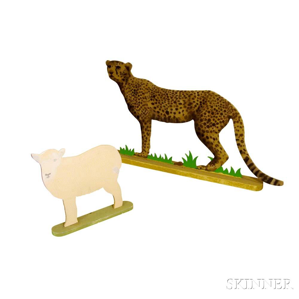 Mo McDermott (British, 20th Century)    Cutout Wooden Cheetah and Lamb