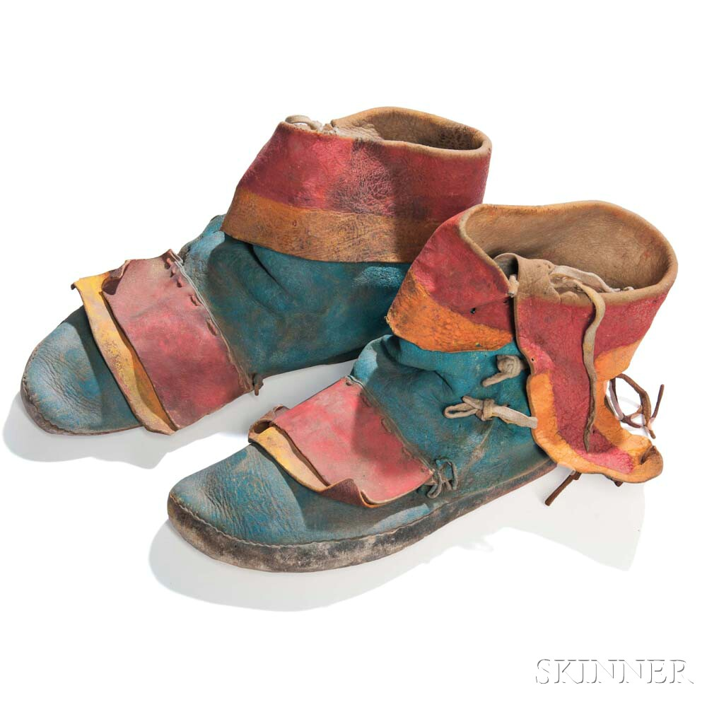 Pair of Zuni Painted Hide Dance Moccasins