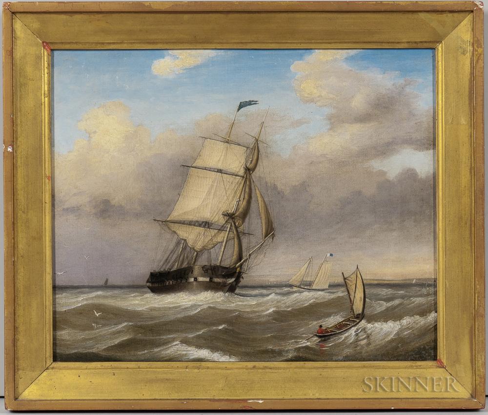 Fitz Henry Lane (Massachusetts, 1804-1865)      Pair of Pendant Portraits of a Pilot Boat Alongside a Large Frigate