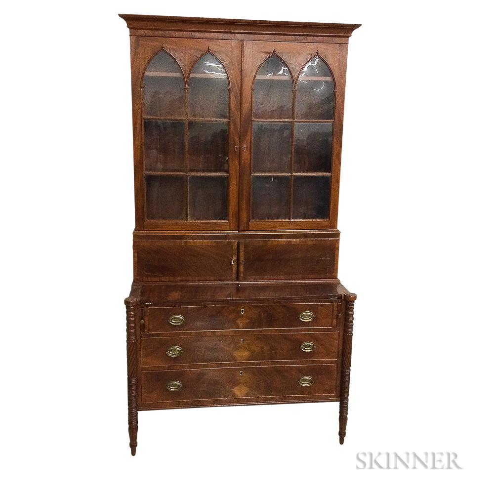 Federal Glazed Mahogany Desk/Bookcase