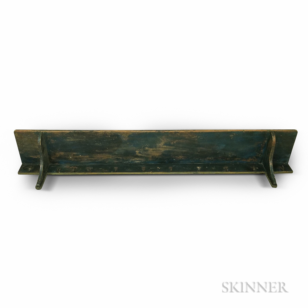 Blue-painted Pine Hanging Shelf with Ten Wrought Iron Coat Hooks