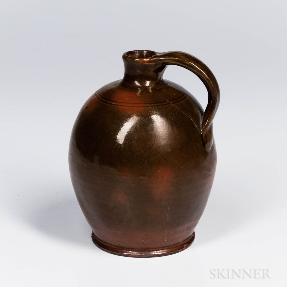 Mottled Green- and Orange-glazed Redware Jug