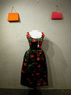 Two Floral and Navy Party Dresses and Twenty-seven Assorted Evening Bags.
